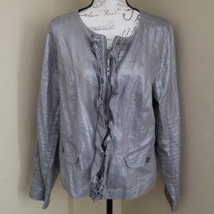Lane Bryant 14 Metallic Silver Zip Moto Jacket